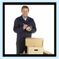 Courier man delievering small packages image